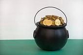 leprechaun gold in black pot