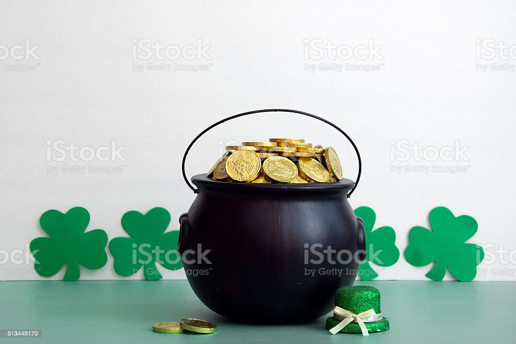 leprechaun hat and gold stock photo