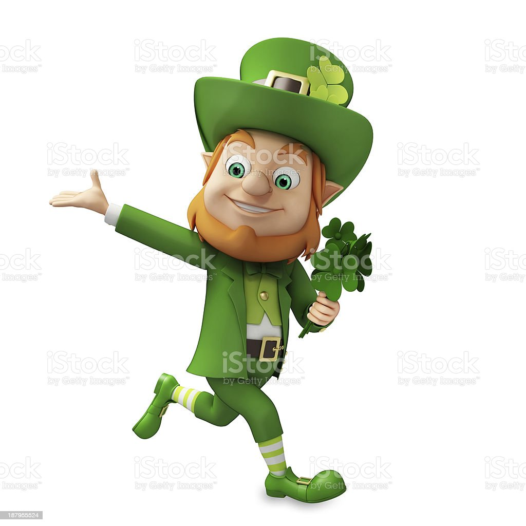 Leprechaun in green celebrating St Patrick's Day stock photo