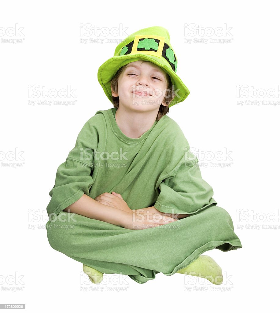 Leprechaun Kid Sitting royalty-free stock photo