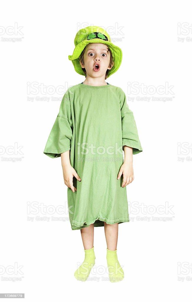 Leprechaun Kid Surpriced stock photo