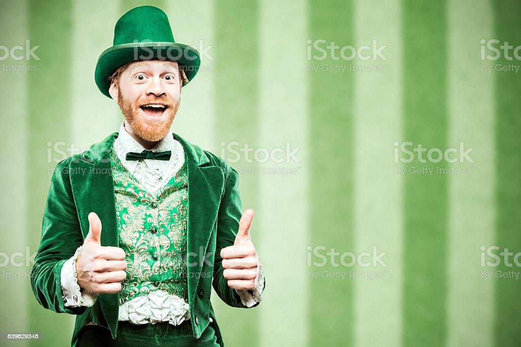 Leprechaun Man Celebrating stock photo