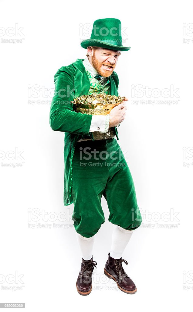 Leprechaun Man Protecting Pot of Gold stock photo