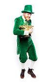 Leprechaun Man Protecting Pot of Gold