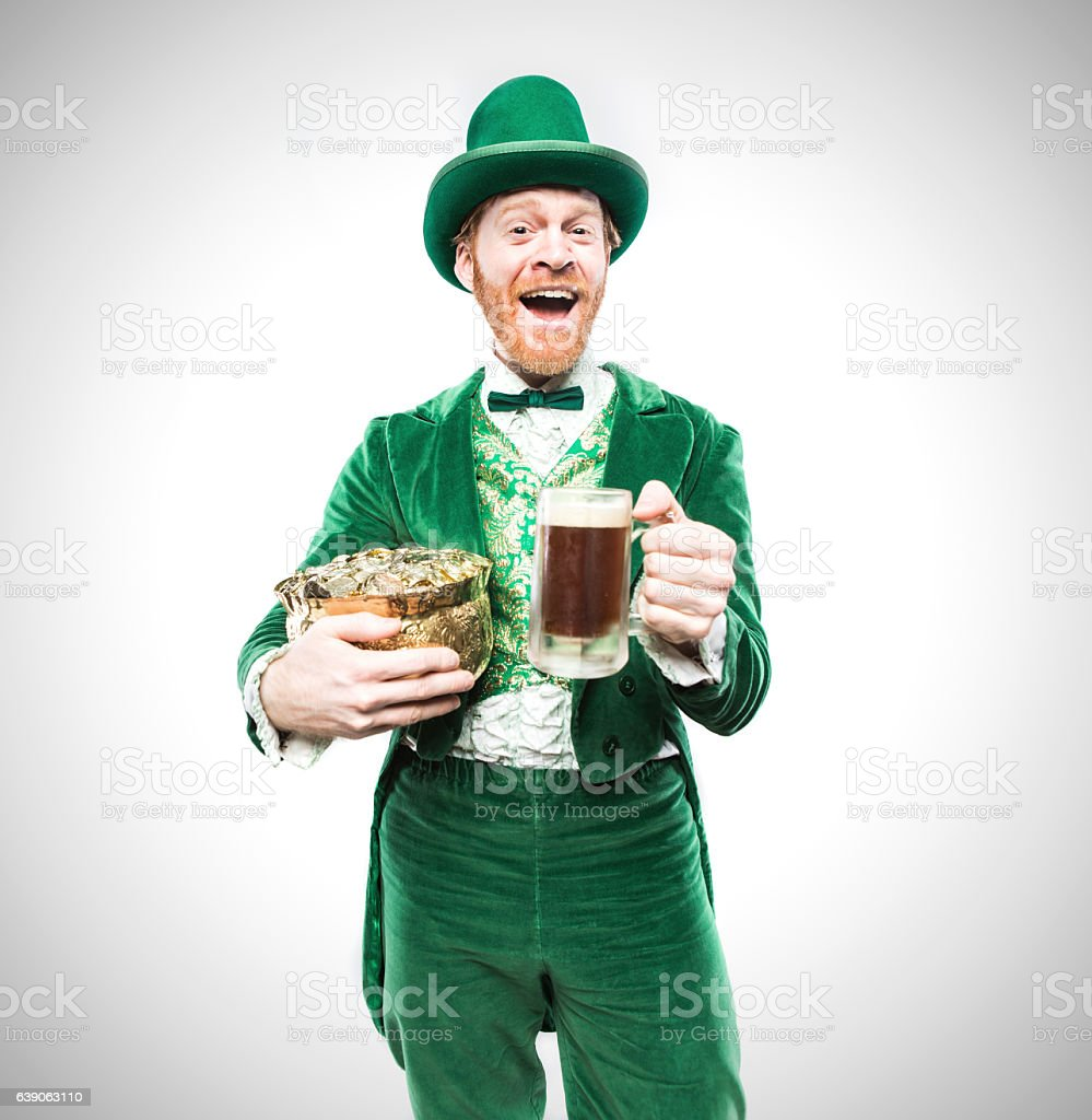 Leprechaun Man with Beer and Gold stock photo