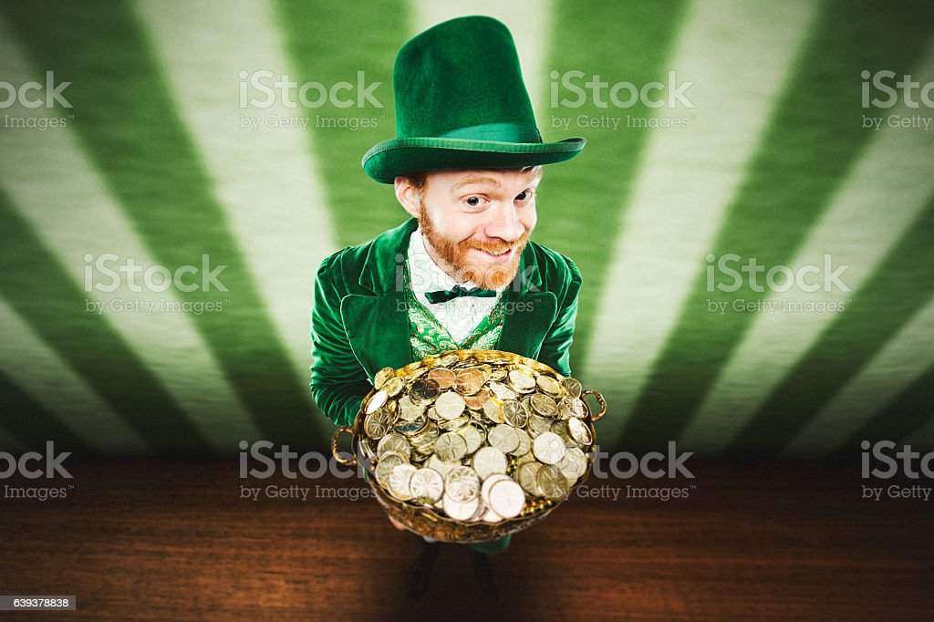 Leprechaun Man with Pot of Gold stock photo