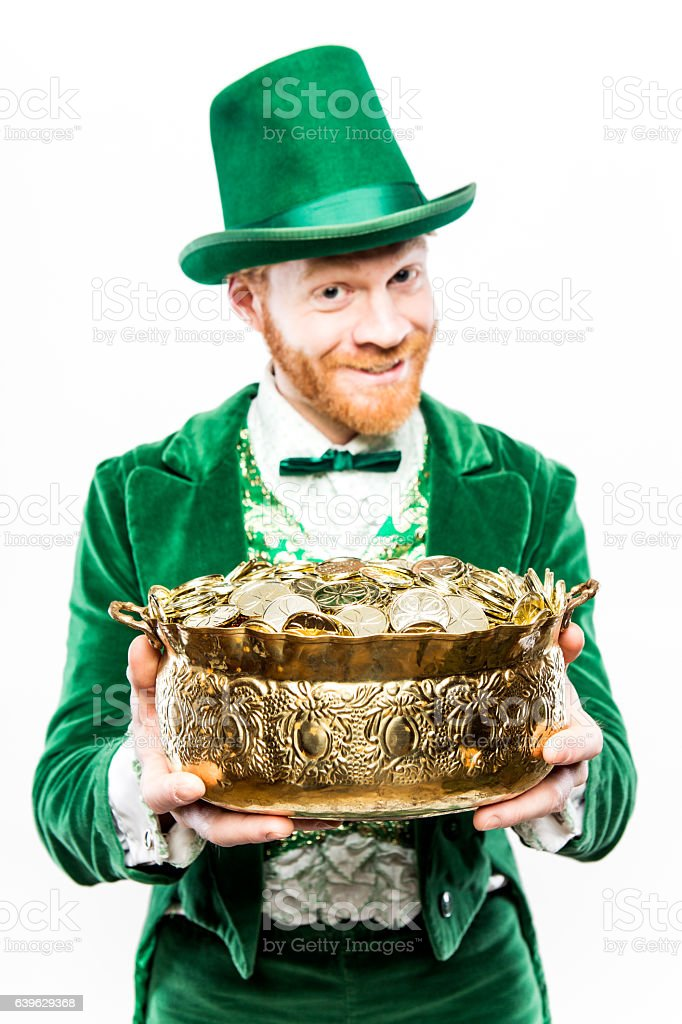 Leprechaun Man with Pot of Gold stock photo