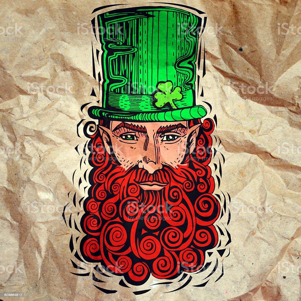 Leprechaun with  red beard, portrait on paper stock photo