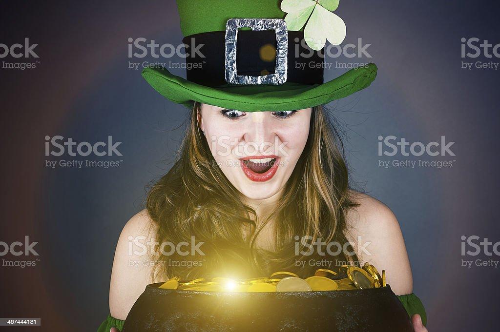 leprechaun with surprise looks stock photo