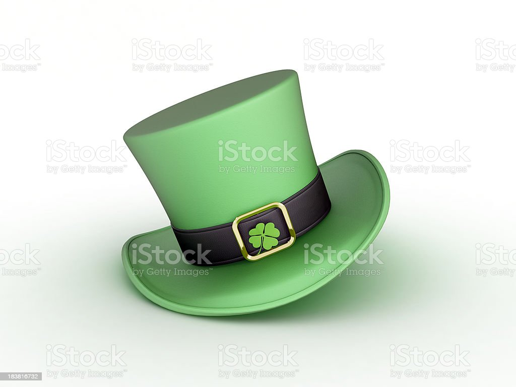 Leprechauns hat with a four-leaf clover in the gold buckle stock photo