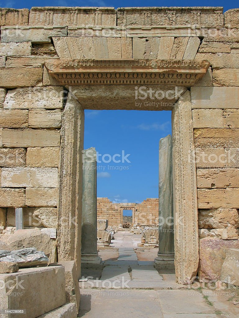 Leptis Magna - entrance to the Severan Forum royalty-free stock photo