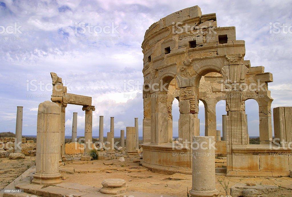 Leptis Magna Roman archaeological site, Tripoli, Libya. stock photo
