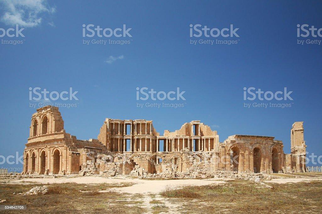 Leptis Magna Theatre in Libya stock photo