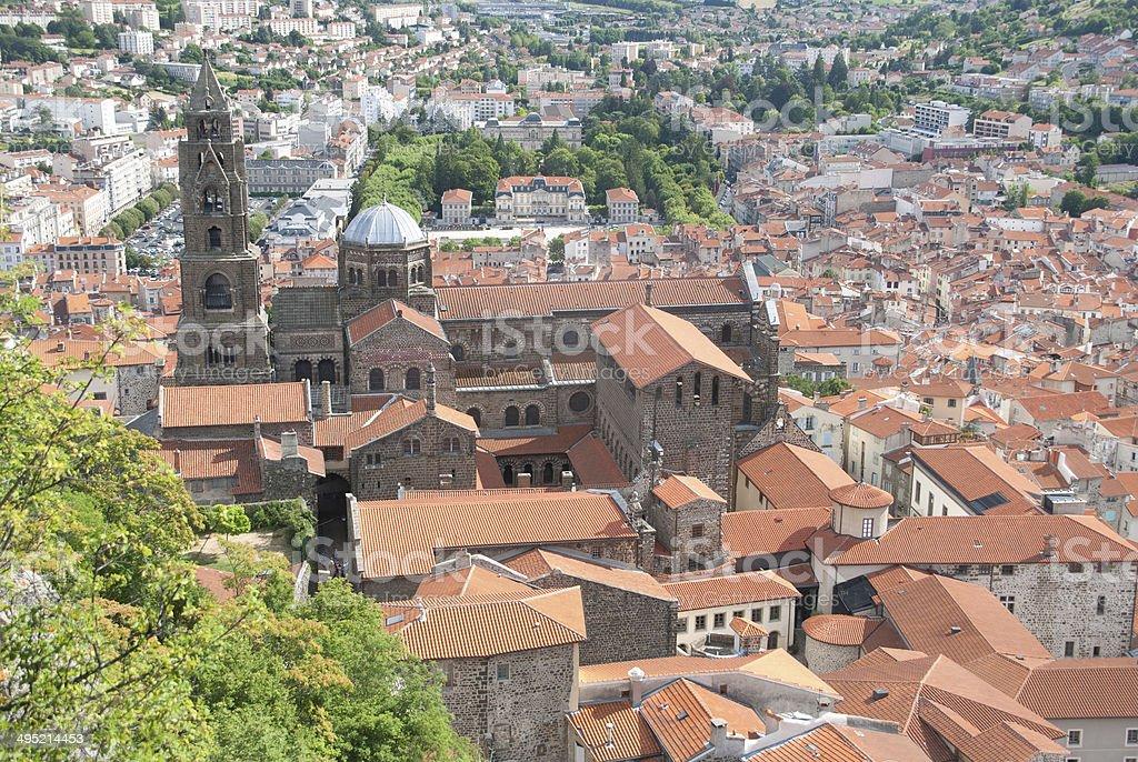 Le-Puy-en-Velay aerial view, Auvergne, France stock photo
