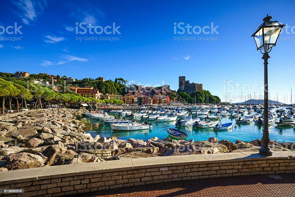 Lerici, harbor and village. Cinque terre, Ligury Italy stock photo