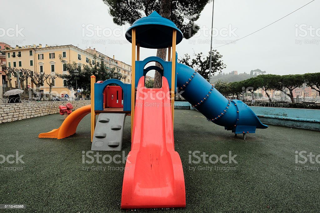 Lerici, Liguria, Italy: townscape with playground stock photo