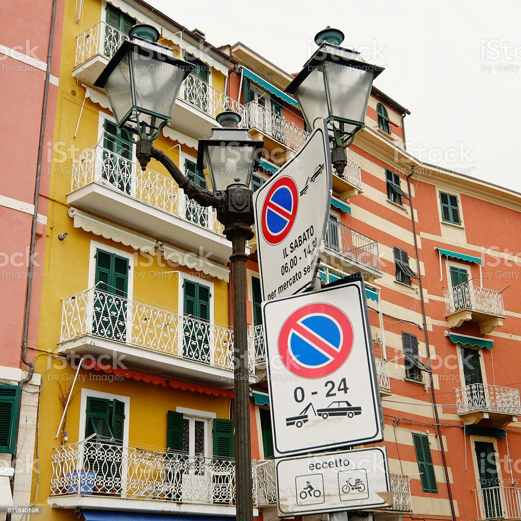 Lerici, Liguria, Italy: townscape with street signs stock photo
