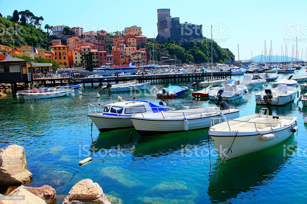 Lerici panorama, colorful buildings, bay, boats and harbor, Liguria, Italy stock photo