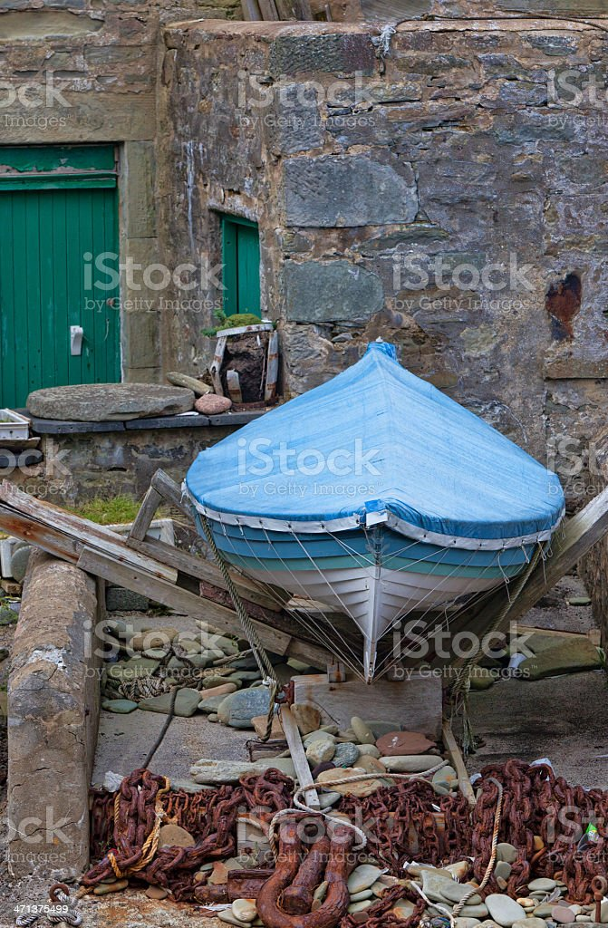 Lerwick  Harbour Warehouse and Coverd Boat royalty-free stock photo