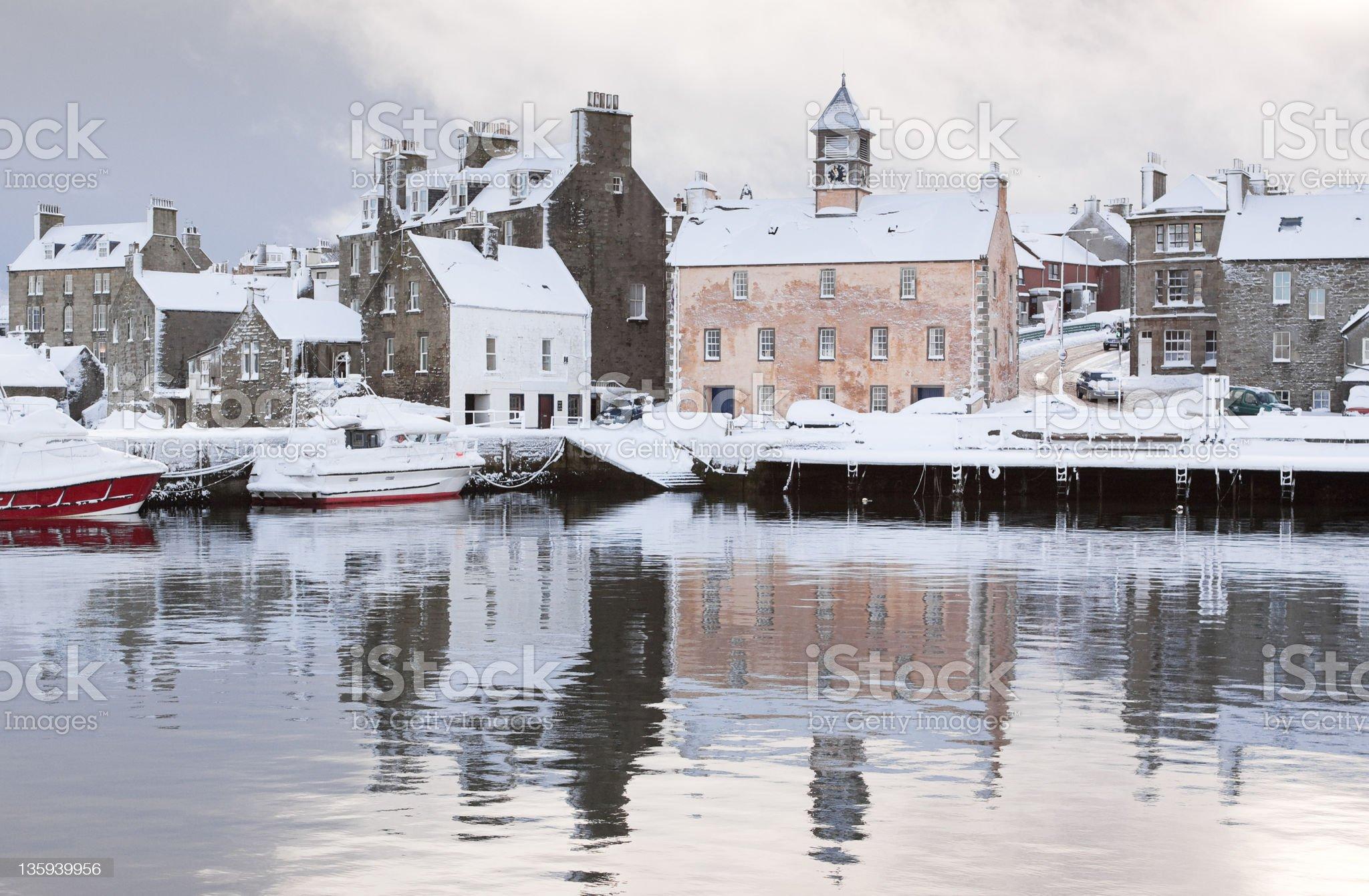 Lerwick Snow Scene royalty-free stock photo