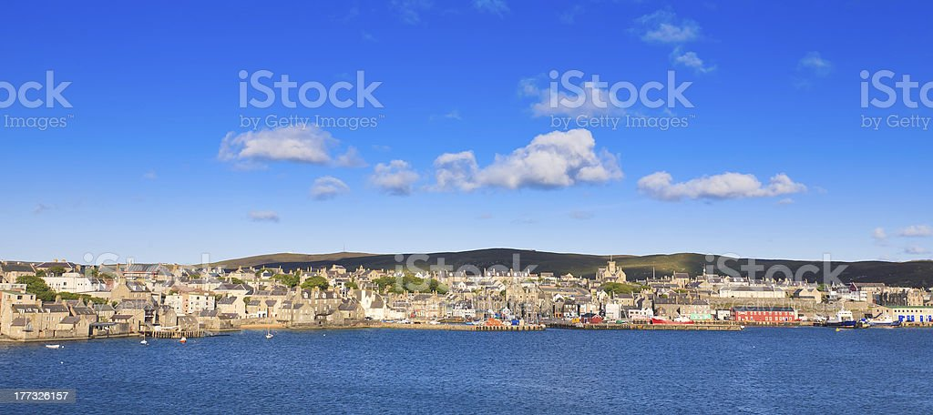 Lerwick town center under blue sky royalty-free stock photo