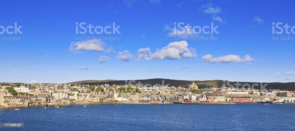 Lerwick town center under blue sky stock photo