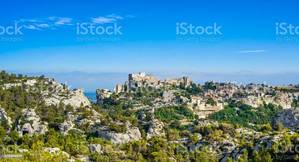 Les Baux de Provence village panoramic view. France, Europe. stock photo
