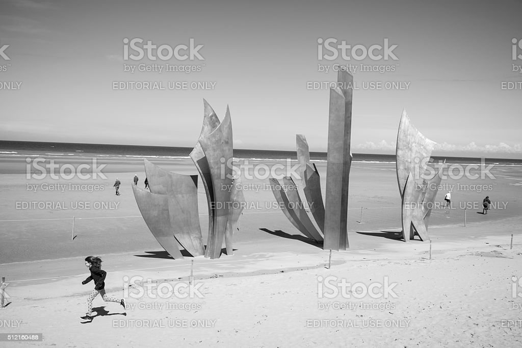 Les Braves memorial at Omaha Beach, Normandy, France stock photo