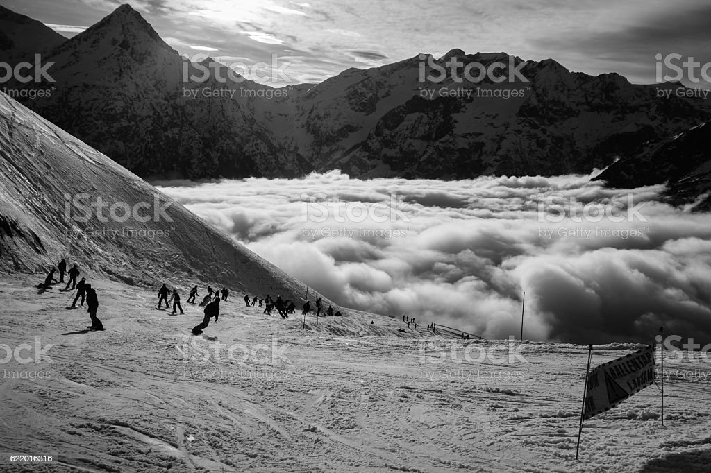 Les Deux Alpes Ski Resort in the French Alps stock photo