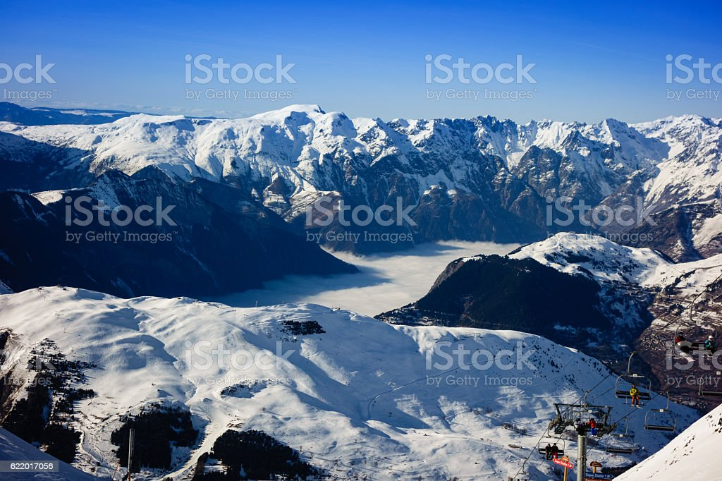 Les Deux Alpes Ski Resort in the French Alps stock photo