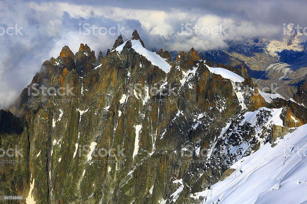 Les Drus glaciers and Grandes Jorasses snowcapped alps stock photo