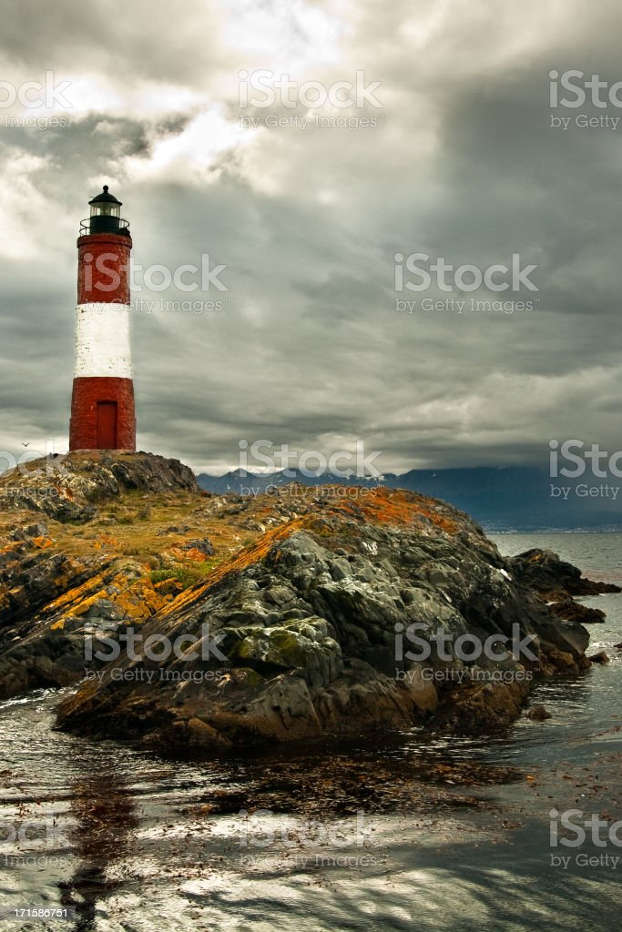 Les Eclaireurs Lighthouse at End of the World stock photo