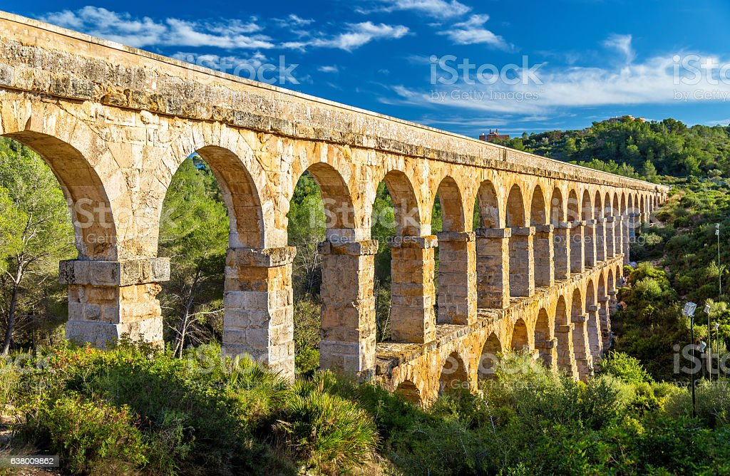 Les Ferreres Aqueduct, also known as Pont del Diable - stock photo