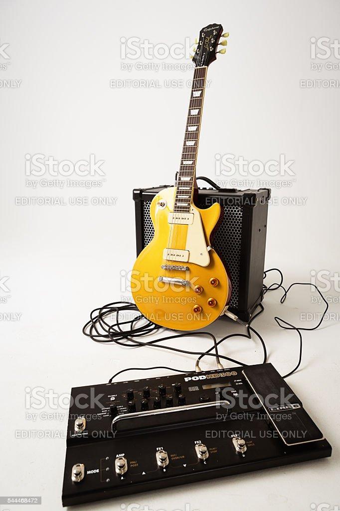 '56 Les Paul Pro guitar, Roland amp and multi-effects unit stock photo