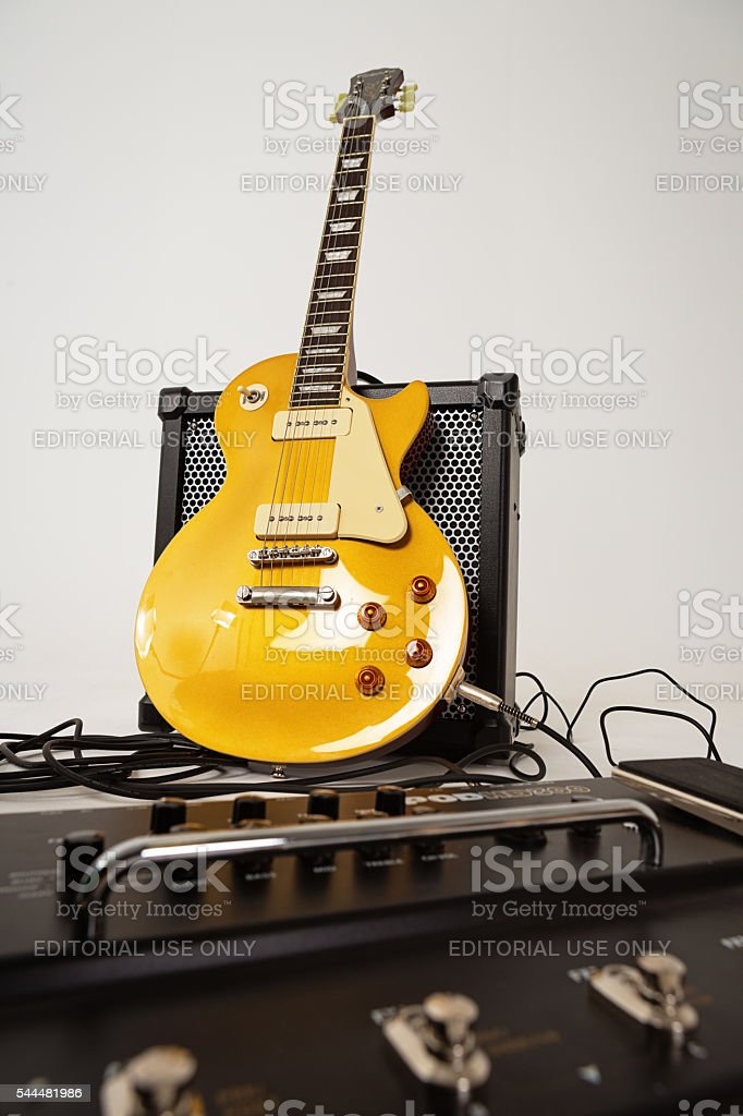 '56 Les Paul Pro guitar with Roland Cube  80GX amp stock photo