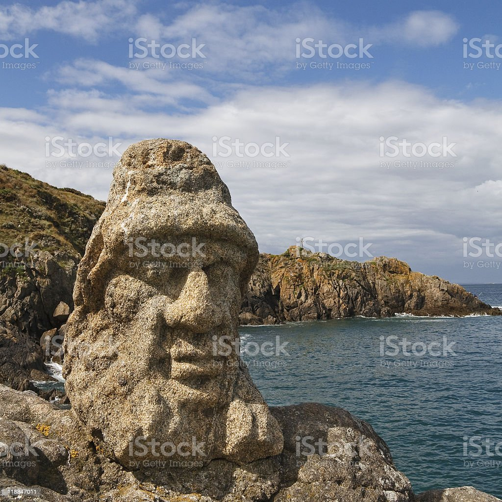 Les Rochers Sculptes (Sculptures) in Rotheneuf, Saint-Malo royalty-free stock photo