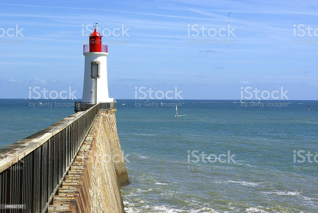 Les Sables red lighthouse stock photo