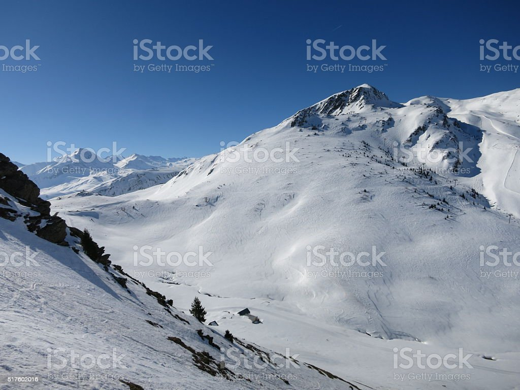 Les Sybelles ski slopes in France stock photo