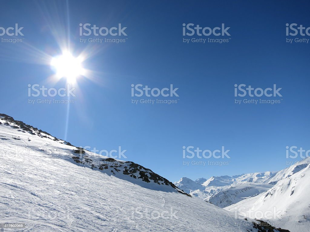 Les Sybelles skiing slopes in France stock photo