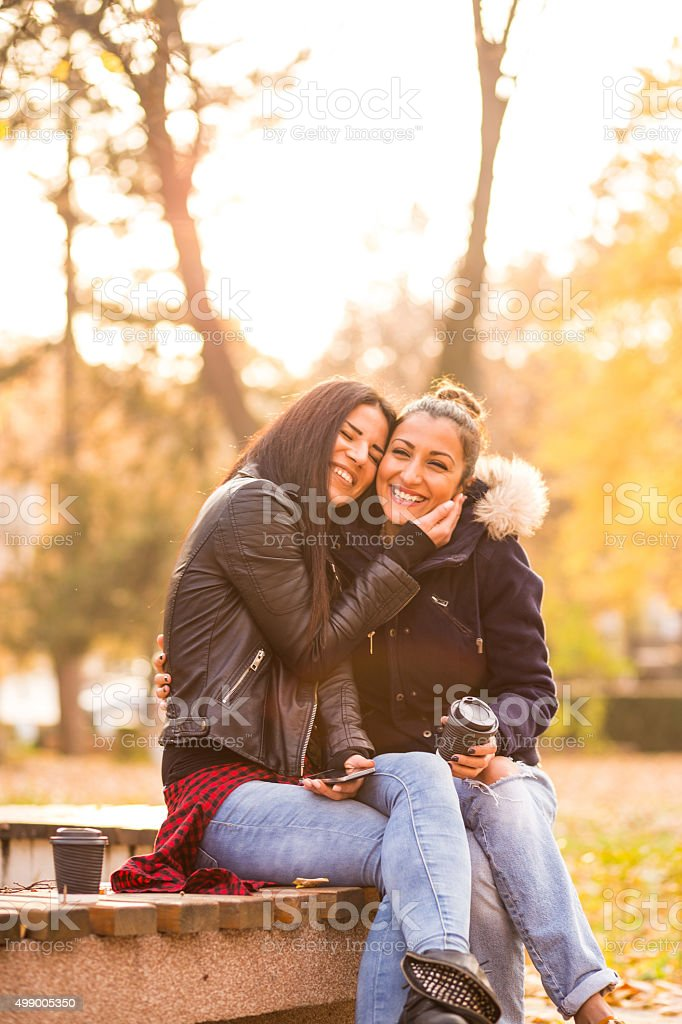 Lesbian couple laughing stock photo