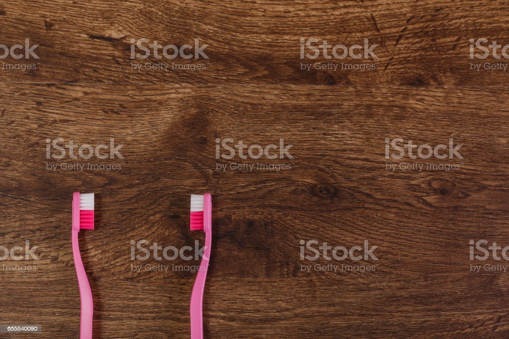 Lesbian couple love concept with toothbrushes. stock photo