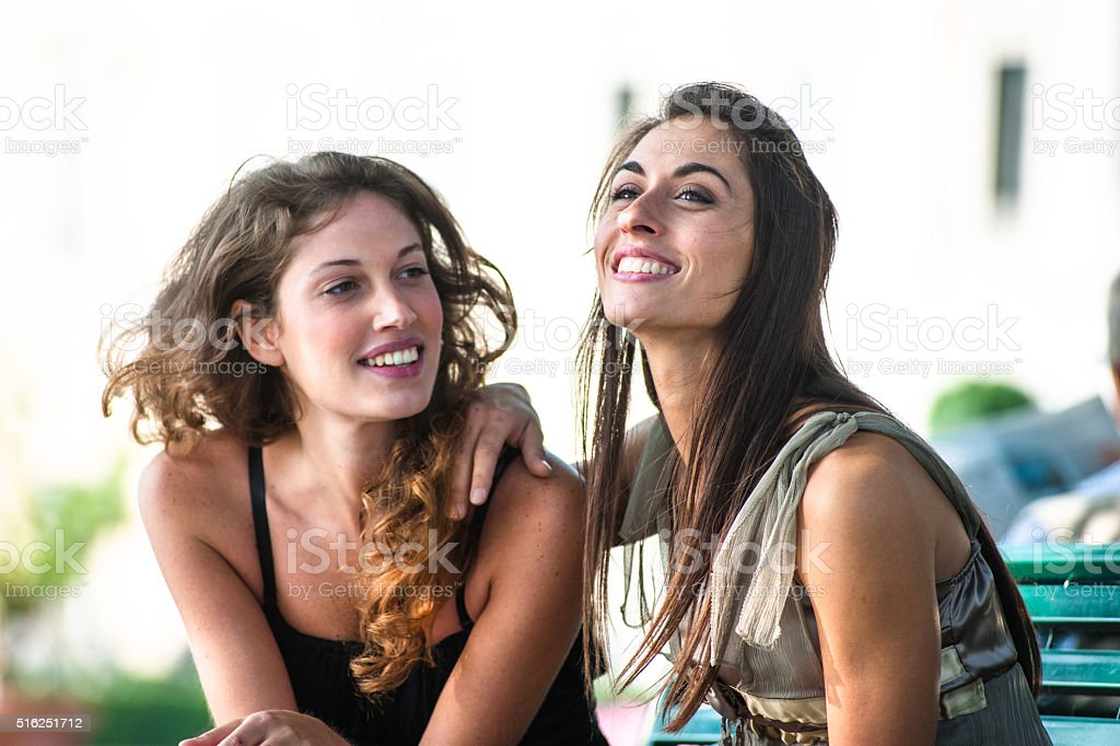 Lesbian friends have fun on summer stock photo