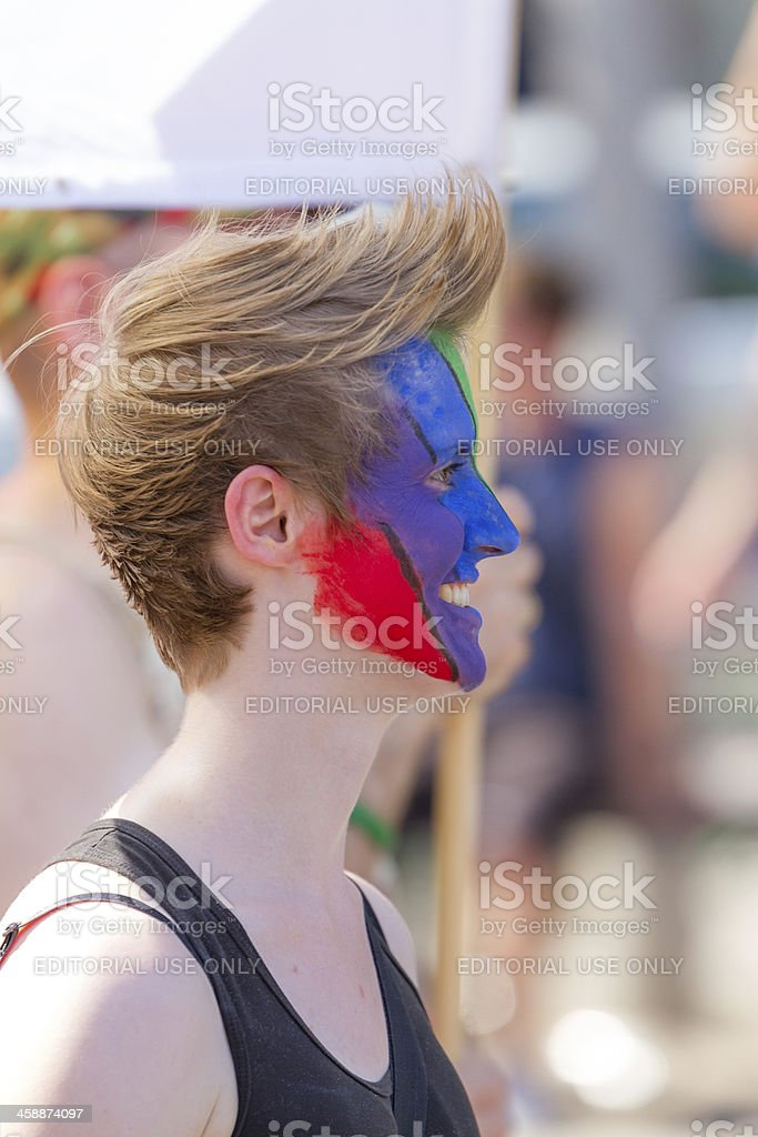 Lesbian Girl with painted Face at Christopher Street Day royalty-free stock photo