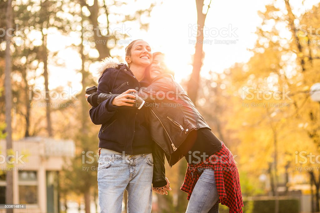 Lesbian hug stock photo