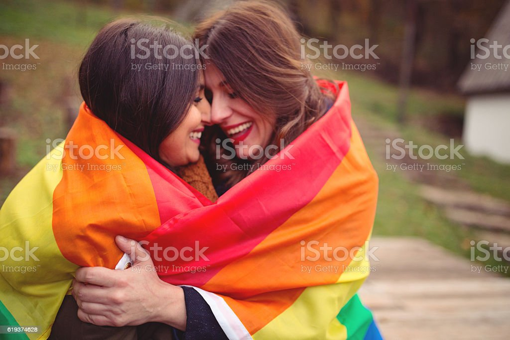 Lesbian love stock photo