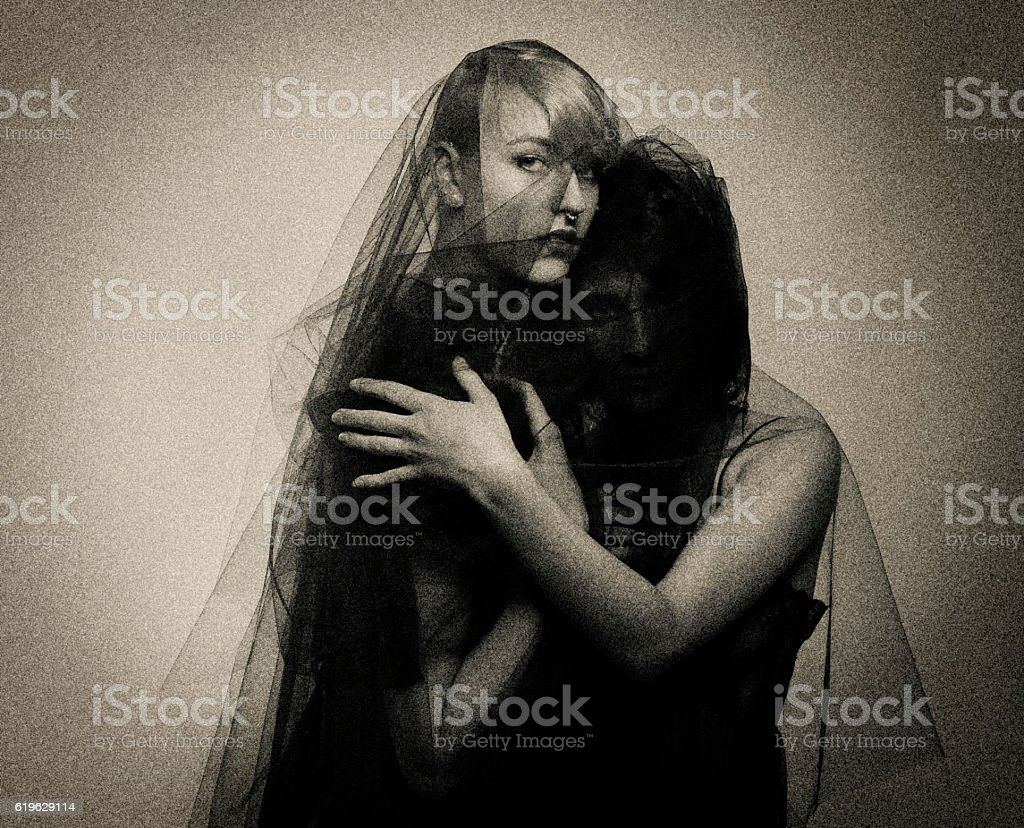Lesbian Lovers Embrace stock photo