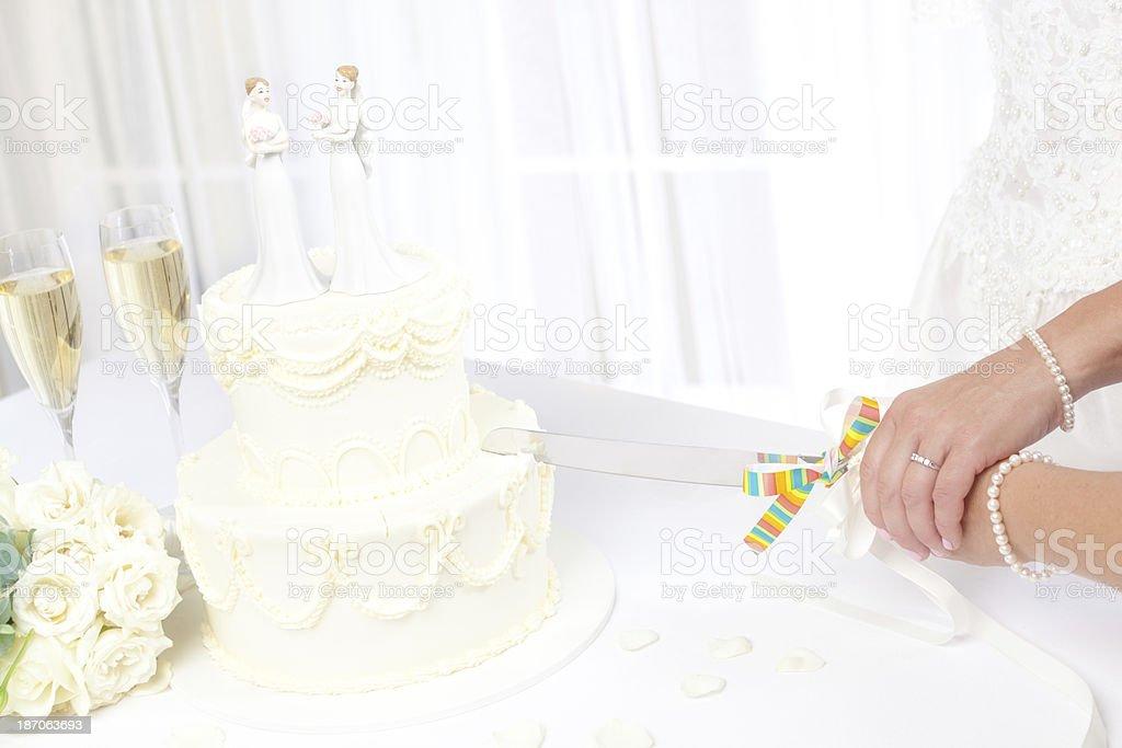 Lesbian Same Sex Marriage Brides Cutting Wedding Cake royalty-free stock photo