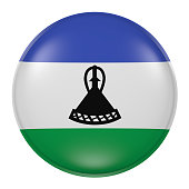 Lesotho button on white background