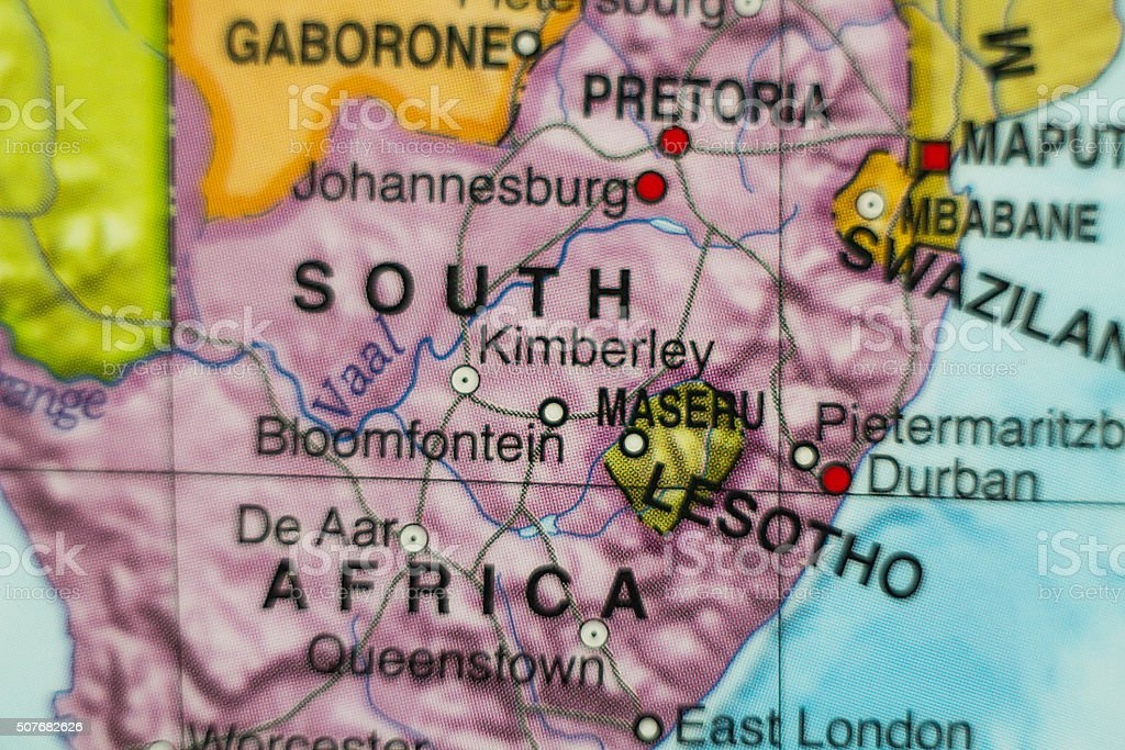 Lesotho country map . stock photo