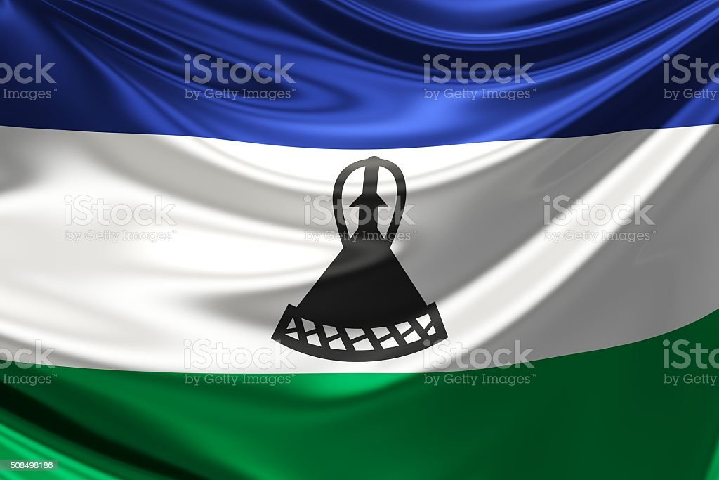 Lesotho Flag. 3d illustration stock photo